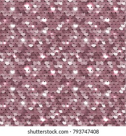 Seamless shiny sequined fabric texture with pink palliettes. Vector illustration of a surface with mermaid sequins.