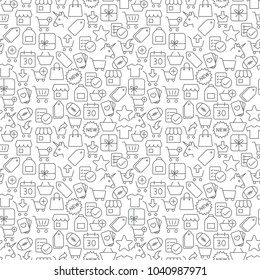 Seamless shopping icons pattern grey on white background