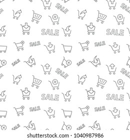 Seamless shopping sale pattern grey on white background