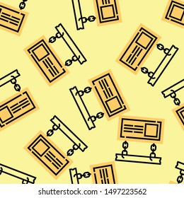 Seamless signboard icon pattern on moccasin background. Simple flat vector design with bright colors for wrapping paper or web.