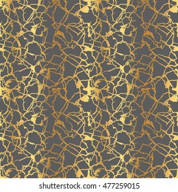 Seamless silhouette cracks, ground background. Gold marble on gray. Vector Illustration