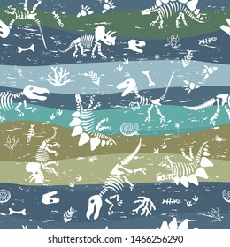 Seamless silhouettes dino skeletons. Hand drawn vector illustration. Seamless pattern, realistic sketch collection of bones.