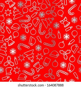 Seamless silver foil on red background Christmas pattern.