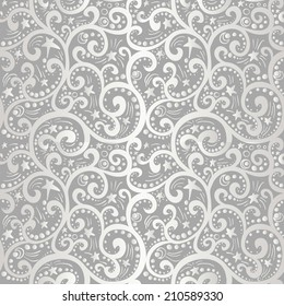 Seamless silver pattern with swirls stars and moon