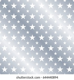 Seamless Silver Star Pattern. Ideal for wrapping paper or greeting card designs.