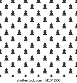 Seamless simple geometric pattern with black Christmas trees on white background. Vector illustration