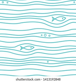 Seamless simple pattern with simple blue fishes and waves on white background. Vector simple marine print.