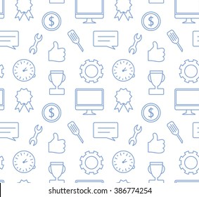 Seamless simple vector pattern in flat modern style, thin line icons collection on white background, SEO and IT texture, background for banner or website header, computer, smartphone, like