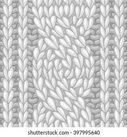 Seamless six-stitch cable stitch. Vector left-twisting rope cable (C6F) knitting pattern. Vector high detailed stitches. Boundless background can be used for web page backgrounds, wrapping papers.