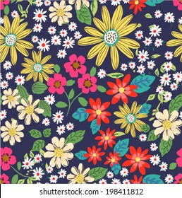 seamless sketch daisy flower vector pattern background