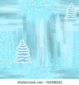 Seamless sketch pattern with abstract snowfflake and firtree on grunge striped backdrop in white,blue,grey colors