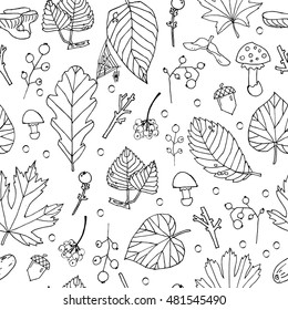 seamless sketch pattern on autumn theme, line graphic background