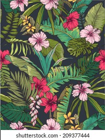 seamless sketch tropical flower summer print vector pattern background