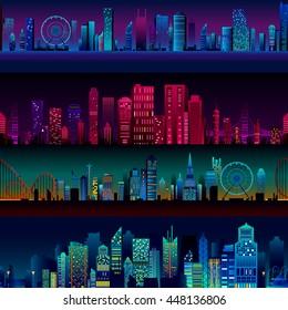 Seamless skyscraper building pattern background in vector