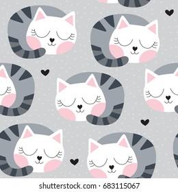 seamless sleeping cat pattern vector illustration