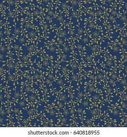 Seamless Small Floral Vine Pattern / Navy and Gold / Global colors saved with Pattern Swatches
