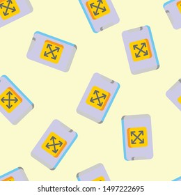 Seamless smartphone icon pattern on moccasin background. Simple flat vector design with bright colors for wrapping paper or web.