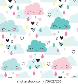seamless smiling sleeping clouds pattern vector illustration