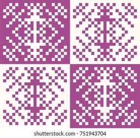 Seamless snow crystal pattern, snow image, sweater pattern, vector data,purple