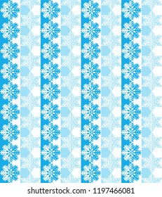 Seamless snowflake pattern in blue and light blue.
