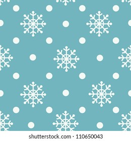 Seamless snowflakes background for winter and christmas theme. Vector illustration.