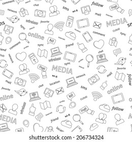 Seamless  social network media icons pattern background vector illustration