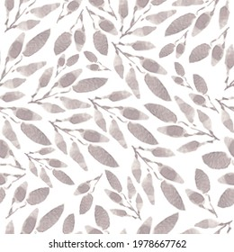 Seamless soft gray leaves pattern