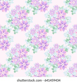 Seamless Soft Pattern In Cute Flowers Of Purple Clematis Floral Exotic Background For Textile