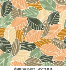 Seamless soft tones leaf autumn pattern doodle background. For textile or book covers, wallpapers, design, graphic art, printing, hobby, invitation.