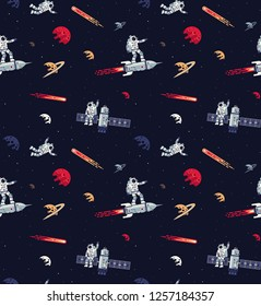 Seamless space pattern with astronauts, rockets, satellites and planets. Included swatch panel.