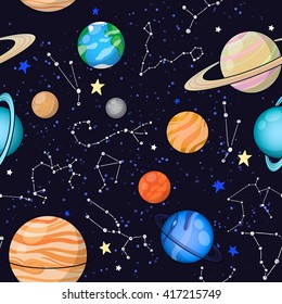 Seamless space pattern background with planets, stars and zodiac constellations. Set of Solar system planets: Mercury, Venus, Earth, Mars, Jupiter, Saturn, Uranus, Neptune, Pluto.