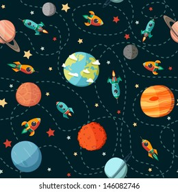 Seamless space pattern. Planets, rockets and stars. Cartoon spaceship icons. Kid's elements for scrap-booking. Childish background. Hand drawn vector illustration.