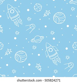 Seamless space pattern. Planets, rockets and stars. Cartoon spaceship icons. Kid's elements for scrap-booking. Children's background.  Hand drawn vector illustration.