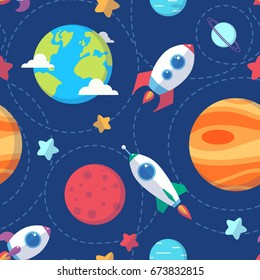 Seamless space pattern. Planets, rockets and stars. Cartoon spaceship icons. Kid's elements for scrap-booking. Childish background. Hand drawn vector illustration