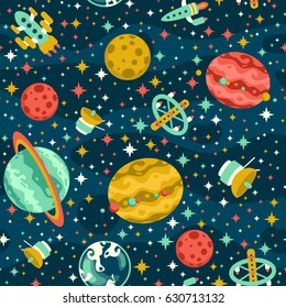 Seamless space pattern with planets and spaceships