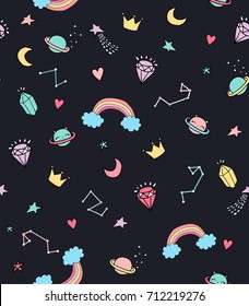 Seamless space pattern. Vector illustrations.