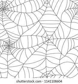 Seamless spider web pattern. Vector illustration with black spiderweb.