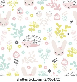Seamless spring animals and blossom flower garden illustration kids background pattern in vector