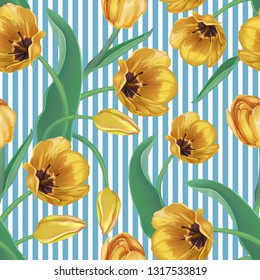 Seamless spring background with vertical blue stripes and Golden, yellow tulips. Decorative card, ornament, banner, pattern for textiles, wrapping paper, clothing, holidays: March 8, women's day, birt