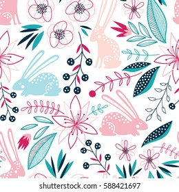 Seamless spring colorful vector floral pattern with rabbits