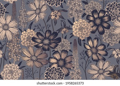 Seamless spring floral pattern. Flowering plants. Vintage vector. Cute garden flowers. Victorian style. Luxurious summer textiles, paper, wallpaper decoration. Black, gold foil print. Ornamental cover