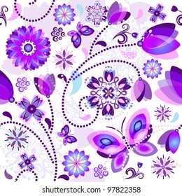 Seamless spring floral pattern with violet and blue translucent flowers and butterflies (vector EPS 10)