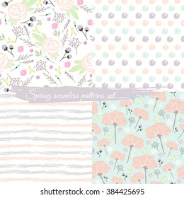 seamless spring floral patterns set background with flowers pattern
