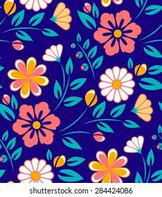 Seamless spring flower pattern on dark blue background.