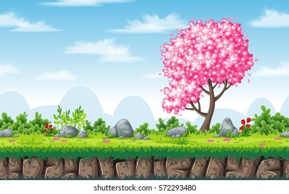 Seamless spring nature background. Vector illustration with separate layers.
