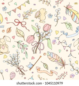 Seamless spring pattern can be used for wallpaper, website background, wrapping paper, invitation, flyer, banner or website. Hand drawn vector illustration of doodle elements