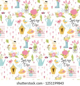 Seamless spring pattern with cute hand drawn elements: rabbit Bunny bird eggs spring flowers branches quotes on white Vector illustration Spring Easter repeated background banner print Kids style