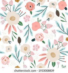 Seamless spring pattern with flowers, berries and leaves. Creative floral texture. Great for fabric, textile Vector Illustration