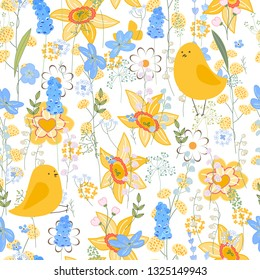 Seamless spring pattern with stylized spring birds.  Endless texture for your design, greeting cards, announcements, posters.