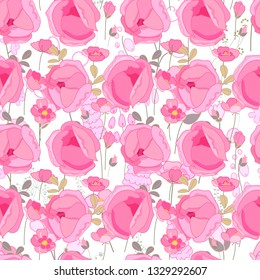 Seamless spring pattern with stylized cute roses.  Endless texture for your design, greeting cards, announcements, posters.